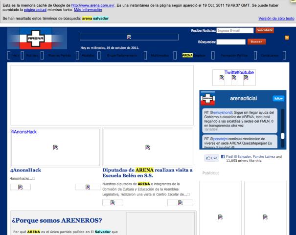 cache del sitio web del partido politico arena de el salvador
