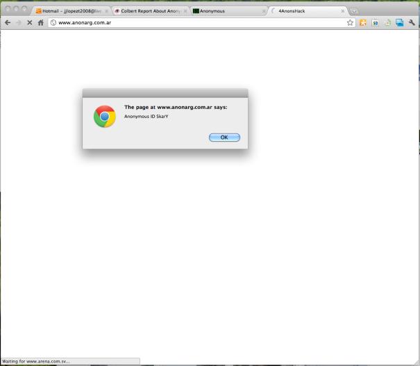 Hackean pagina web del partido ARENA en El Salvador