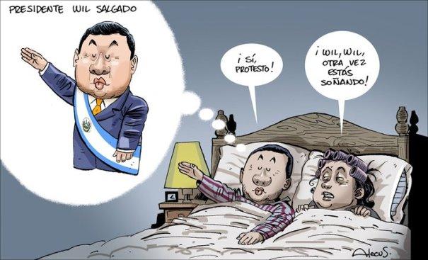Caricatura de Alecus sobre las intenciones del alcalde de San Miguel sobre ser presidente de El Salvador